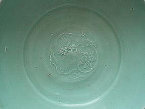 A Fine Powder Green Glaze Celadon Large Dish