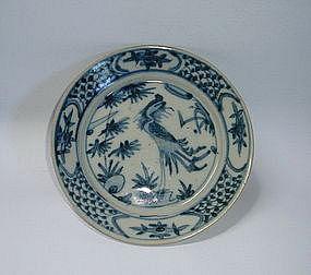 A Swatow Type B&W Dish With Phoenix
