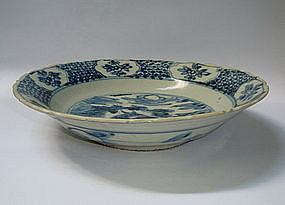 A Swatow Type Blue & White Dish With A Deer