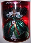 1995 Mattel Black HAPPY HOLIDAY BARBIE-Green Dress