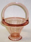 Heisey Flamingo Pink DOUBLE RIB and PANEL 6 In BASKET