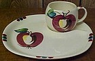 Purinton Pottery Slip Ware APPLE SNACK PLATE and CUP