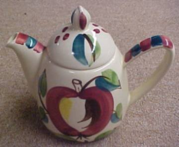 Purinton Pottery Slip Ware APPLE TEAPOT and LID