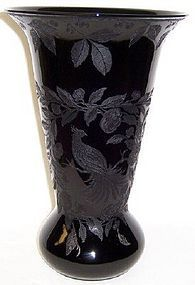 Cambridge Ebony 12 Inch No. 402 VASE with Birds 2 Sides
