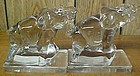 New Martinsville Glass Crystal ELEPHANT BOOK ENDS,Pair