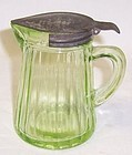 Anchor Hocking Translucent Green RIBBED SYRUP PITCHER