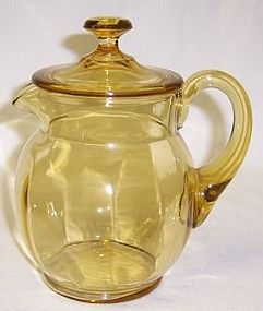 Paden City Amber Ribbed Optic GUEST PITCHER with LID