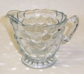 Anchor Hocking Fire King Blue BUBBLE Footed CREAMER