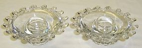 Heisey Crystal LARIAT One-Lite CANDLE HOLDERS, Pair