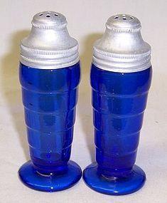 Hazel Atlas Cobalt Blue MODERNTONE SALT and PEPPER