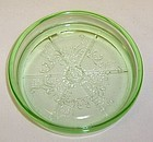 Hazel Atlas Green FLORENTINE No. 2 3 1/4 Inch COASTER
