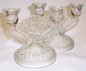 Jeannette Crystal IRIS and HERRINGBONE CANDLE STICKS