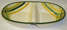 Vernonware GINGHAM 11 1/2 In 2 Part DIVIDED Oval BOWL