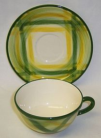 Metlox Vernon Ware GINGHAM CUP and SAUCER