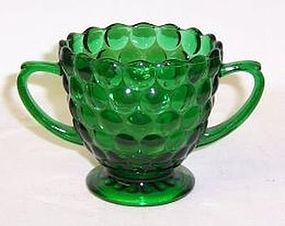 Anchor Hocking Fire King Green BUBBLE SUGAR BOWL
