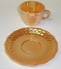 A Hocking Fire King Iridized FISH SCALE Demi Cup Saucer