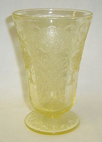 Hazel Atlas Yellow FLORENTINE 2 4 3/4 In FOOTED TUMBLER