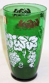 Hocking Fire King Forest Green 6 3/4 In TUMBLER w/Gold