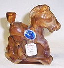 Imperial Caramel Slag Glass PONY STALLION, Orig. Label