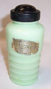 Jeannette Jadeite Ribbed ALLSPICE Shaker, Black Lid