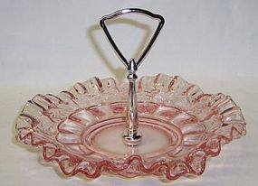 Westmoreland Pink PANELED GRAPE 8 Inch Handled TRAY