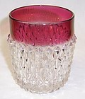 Indiana Ruby Flashed DIAMOND POINT 9 Oz WATER TUMBLER
