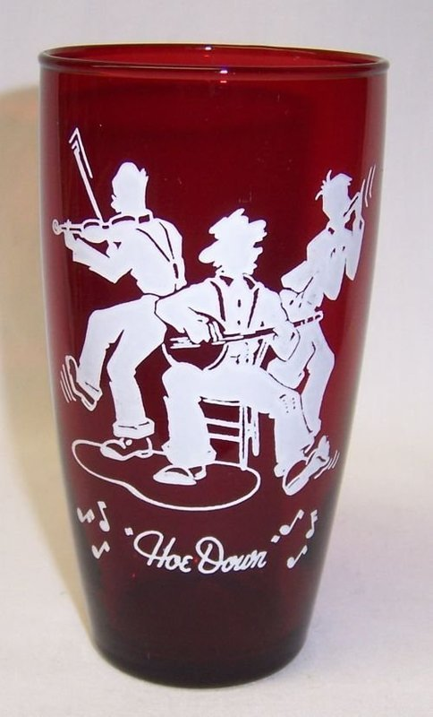 Anchor Hocking Fire King Royal Ruby HOE DOWN Tumbler