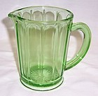 Hazel Atlas Green Depression RIBBED 5 Inch MILK PITCHER