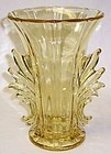 Fostoria Yellow BAROQUE 7 3/4 FLARED Flame Handle VASE