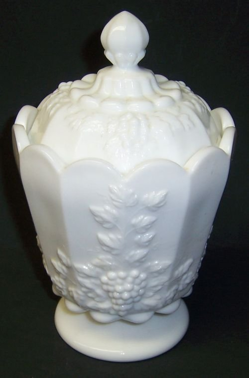 Westmoreland Milk Glass PANELED GRAPE Small CANISTER