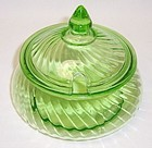 Hocking Green SPIRAL PRESERVE JAR with CUT OUT LID