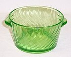 Hocking Green SPIRAL Tab Handled ICE or BUTTER TUB