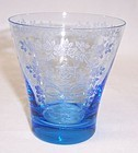 New Martinsville Gloria Blue MIKADO 3 1/2 Inch TUMBLER
