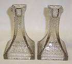 Federal Crystal JACK FROST CRACKLED 5 1/2 CANDLE STICKS