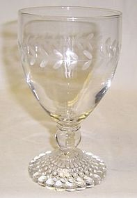 Anchor Hocking Fire King Crystal BUBBLE Cut LAUREL BAND GOBLET