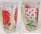 Unknown Maker PEANUT BUTTER 5 In Glass Red and White PHLOX