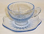 New Martinsville Glass Blue RADIANCE CUP and SAUCER