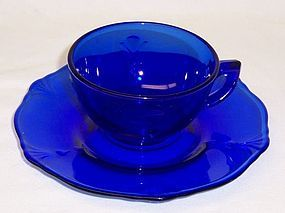 Paden City Cobalt CROW'S FOOT CUP and Round SAUCER