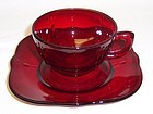 Paden City Glass Ruby Red CROW'S FOOT CUP and Square SAUCER