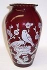Anchor Hocking Fire King ROYAL RUBY 8 3/4 Inch BIRD at NEST VASE