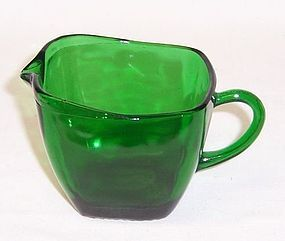 Anchor Hocking Fire King Forest Green CHARM Creamer