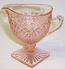 Hocking Depression Glass Pink MISS AMERICA Footed CREAMER