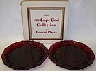 Avon Ruby Red 1876 CAPE COD 7 Inch DESSERT PLATES, 2 Per O. BOX