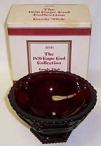 Avon Ruby Red 1876 CAPE COD Footed CANDY DISH, Original Box