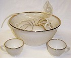 Anchor Hocking Cremax with Gold SANDWICH 14 Pc PUNCH BOWL SET