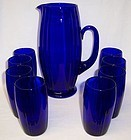 New Martinsville Cobalt OSCAR WATER PITCHER and Eight GLASSES
