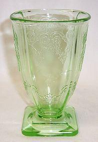Indiana Glass Green LORAIN BASKET 615 4 3/4 Inch 9 Oz FOOTED TUMBLER