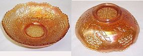 Fenton Marigold Carnival LEAF CHAIN and BERRY w/LEAF BOWL 2 Side Pat
