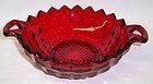 Fostoria Ruby Red AMERICAN 10 Inch Two HANDLED BOWL - Hard to Find