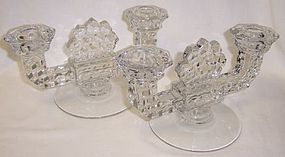 Fostoria Crystal AMERICAN DOUBLE Branch CANDLE HOLDERS, PAIR